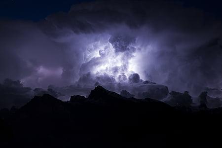 nuotrauka, tornadas, dangus, tamsus, debesys, Debesuota, lietus