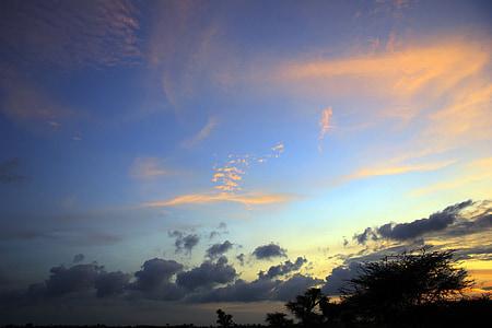 sončni zahod, nebo, oblaki, na prostem, scensko, mirno, stratosferi