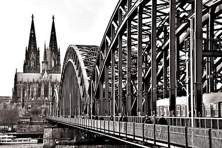 Bridge, Cologne, Cầu Hohenzollern, Dom, sông, sông Rhine