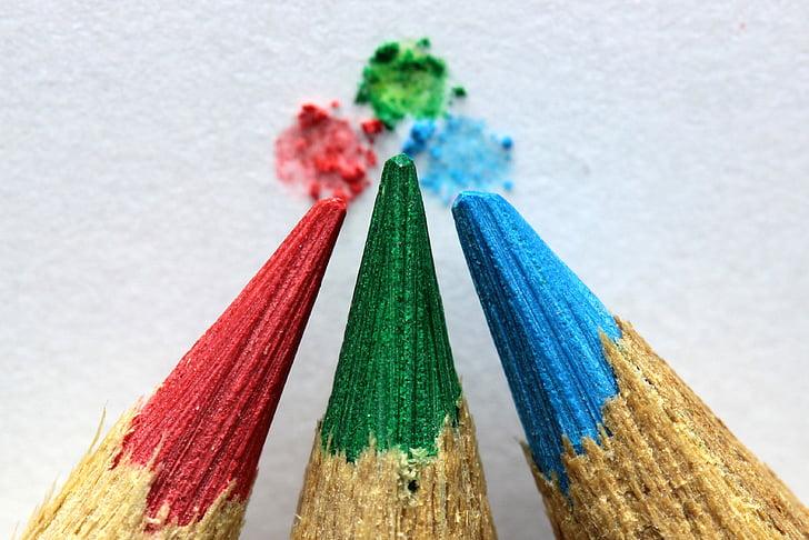 konst, närbild, färgpennor, färgglada, färgpennor, färgglada, vässade pennor