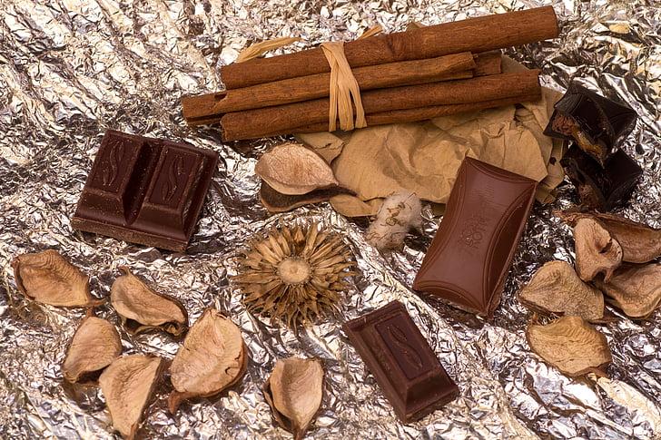 スティル ・ ライフ, シナモンスティック, チョコレート, 茶色, 食品, デザート, 背景