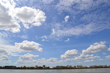 空, クラウド, 曇り空, 市, ボルドー, 自然, ブルー