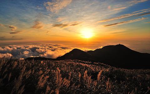 Taivāna, debesis, uzvārds, kalns, Miscanthus, mākoņi, saule