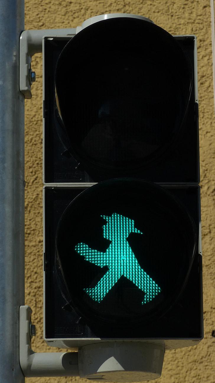 little green man, traffic lights, footbridge, traffic signal, green, males, light signal