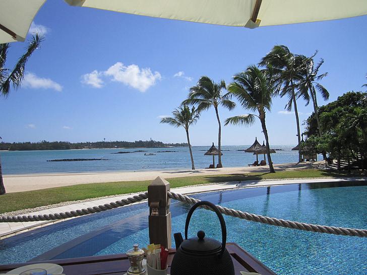 Maurici, esmorzar, Mar, palmeres, piscina, relaxació, l'aigua