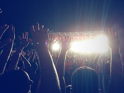 crowded, people, concert, night, raising, hands, time