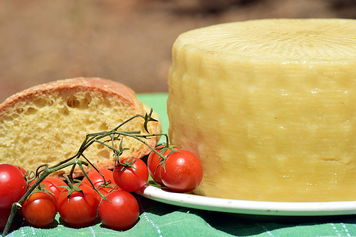 sir, Feta sir, hlebec sira, paradižnik, kruh, sredozemski, Sredozemska prehrana