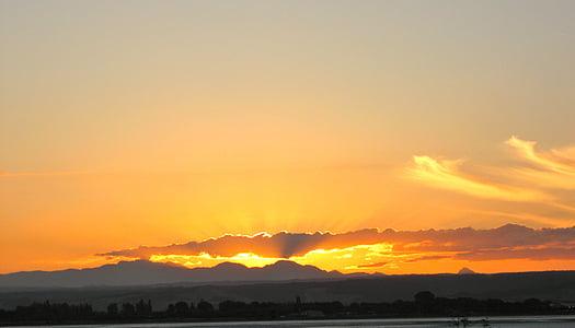 sončni zahod, gore, oranžna, nebo, oblaki, na prostem, scensko