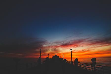 Dawn, skymning, Ocean, personer, Pier, havet, Seascape