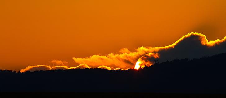 saulriets, vakara debesis, vakara blāzma, mākoņi, debesis, abendstimmung, sarkana