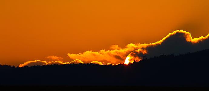 일몰, 저녁 하늘, 잔 광, 구름, 스카이, abendstimmung, 레드