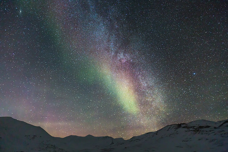 Galaxy, Northern lights, Auroras, Arktis, sne, Longyearbyen, lys fænomen