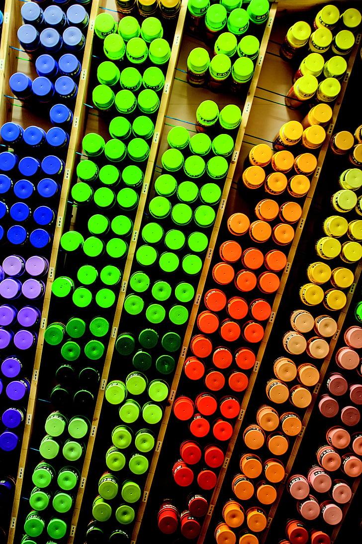 graffiti, spray lehet, doboz, színes, szín, piros, zöld
