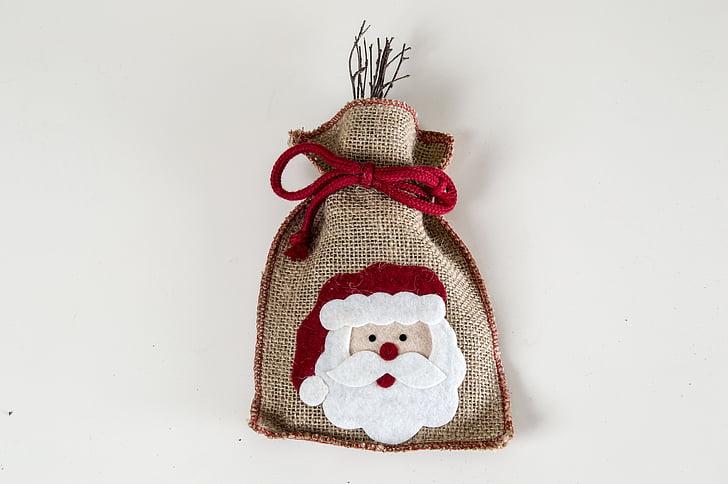Santa sisekujundus, teenetemärgi, Santa kott, Xmas, ornament, detsember, häid