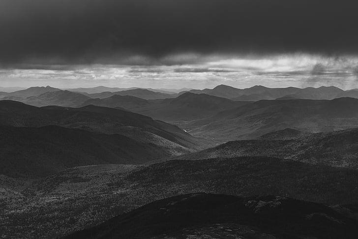 montanha, Highland, preto, Branco, paisagem, modo de exibição, escuro