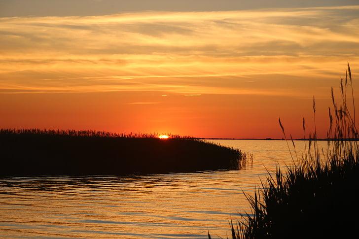 posta de sol, Mar Bàltic, fa poc, torna la llum, Mar, aquarel·la, taronja