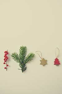 štyri, rôzne druhy, Vianoce, ozdoby, dekorácie, hviezda, strom