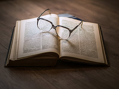 antique, book, encyclopedia, glasses, knowledge, lexicon, literature