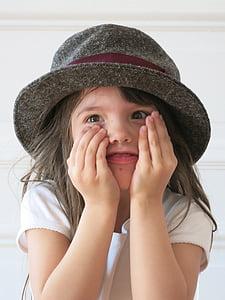 child, hat, joy, hide, laugh