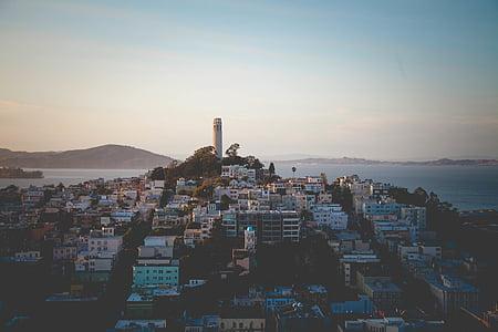 aèria, fotos, ciutat, diürna, Mar, edificis, arquitectura