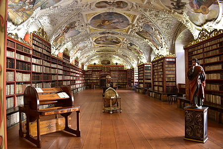 library, historical, fresco, light, globe, prague, building