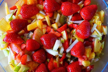 Puuviljasalat, puuviljad, maasikad, Apple, virsikupuu, puu, toidu
