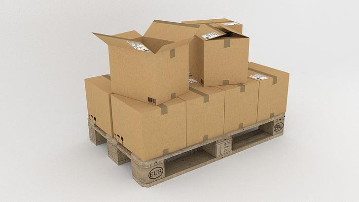 pallet, goods, freighter, transport, wood, boxes, cardboard