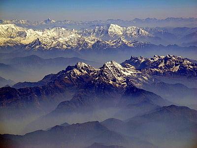 himalayas, mountains, landscape, vista, sky, clouds, landmark