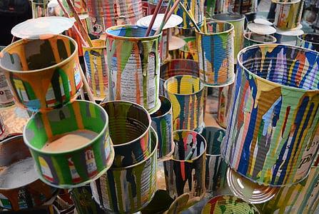 warna, kaleng, seni, lukisan, sikat, Instalasi