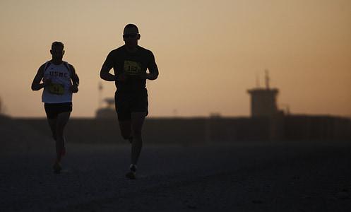 corredors, silueta, atletes, gimnàs, homes, militar, Marató