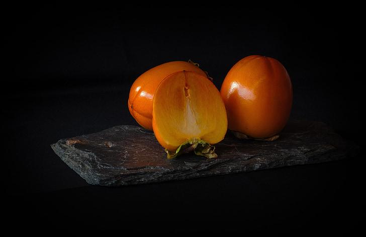 bodegons, caqui, persimon, fruita, taronja