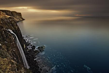 waterfall, scotland, isle of skye, lake, sky, sunset, landscape