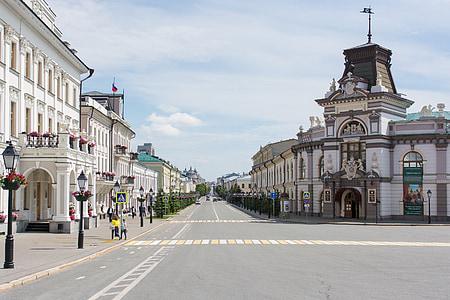 Kazan, ciutat, carrer, pas de vianants, carrer buit, a casa, edifici
