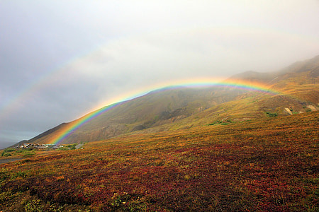 rainbow, colorful, weather, sky, landscape, scenic, nature