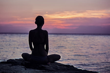 dom, meditation, harmoni, havet, Sunset, Sky, Yoga
