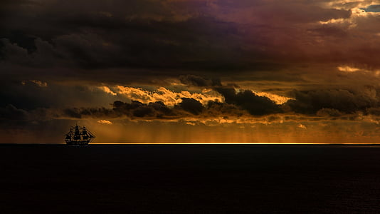 sea, sailing vessel, ocean, sunset, sky, dusk, evening sky