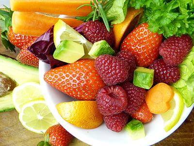 ovocie, avokádo, citrón, Orange, jahody, maliny, mrkva