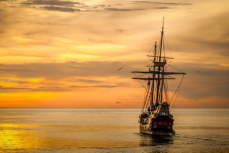 tramonto, barca mare, nave, mare, mezzo di trasporto marittimo, nave a vela, cielo