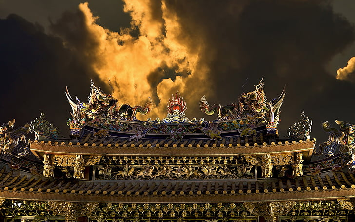 l'arquitectura xinesa, decoració xinesa, edifici xinès, casa de xinès, no hi ha persones, a l'exterior, dia