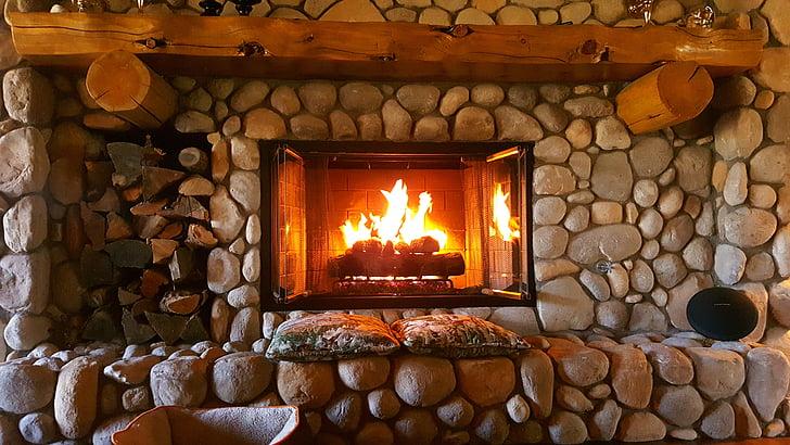 kamīns, uguns, mājas, interjers, silts, vieta, istabu