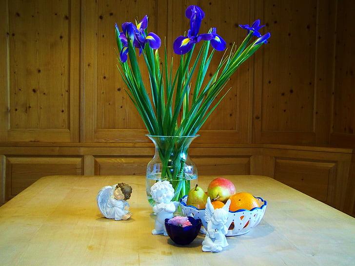 Zátiší, složení, ovocné zátiší, dekorace, tabulka, váza, dřevo - materiál