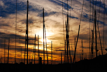 sailboats, sunset, dusk, silhouette, sky, clouds