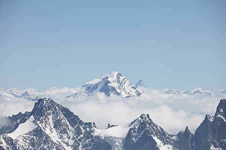 chamonix, clouds, peak, mountain, landscape, alps, alpine