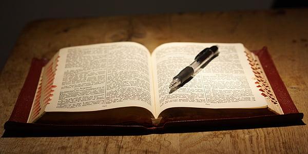 Bíblia, llibre, llegir, taula