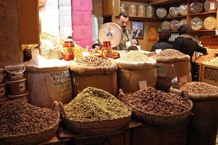 Süüria, Bazar, Süüria, Souk, turu, vürtsid, müüja