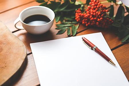 trống, giấy, bút, cà phê, công việc, làm việc, Bàn