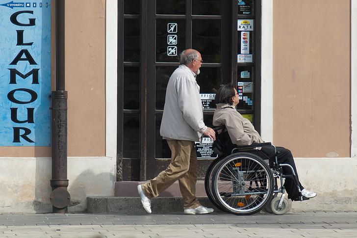 cadira de rodes, l'atenció, discapacitats, persones, dona, cura sènior, pacient