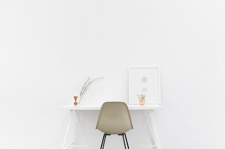 办公桌, 白色背景, 白色的房间里, 椅子, 白色, 复制空间, 工作室拍摄