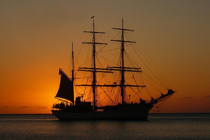 martinique, sunset, boat, twilight, sea, nature, island