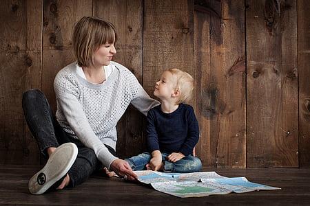familia, crianza de los hijos, juntos, personas, niño, madre, feliz